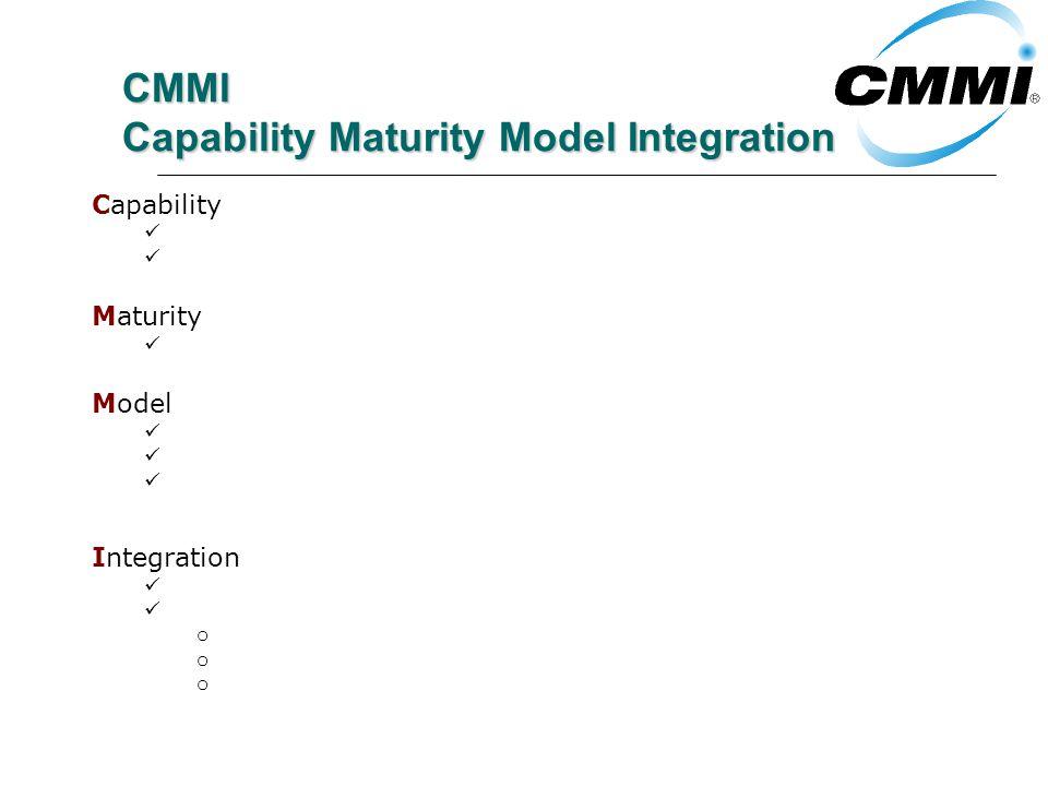 CMMI Capability Maturity Model Integration Capability Capacidad, propiedad de los procesos Resultados esperados que pueden ser alcanzados siguiendo un proceso Maturity Grado de propiedad, de mejora de los procesos por medio de niveles Model Provee asistencia para desarrollo de procesos No son descripciones de procesos Las areas de proceso no se vinculan una a una con los procesos de una organizacion Integration Alcance, expectativa de establecer todos los procesos usando CMMI Combinacion de 3 modelos: o SW-CMM: Software o SE-CMM: Ingeniería de Software o IPD-CMM: Desarrollo integrado de productos