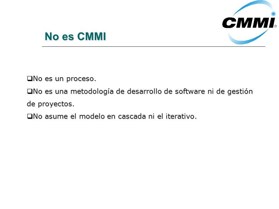 No es CMMI No es un proceso. No es un proceso.