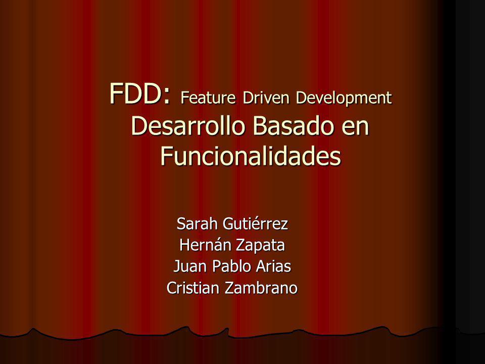 FDD: Feature Driven Development Desarrollo Basado en Funcionalidades Sarah Gutiérrez Hernán Zapata Juan Pablo Arias Cristian Zambrano