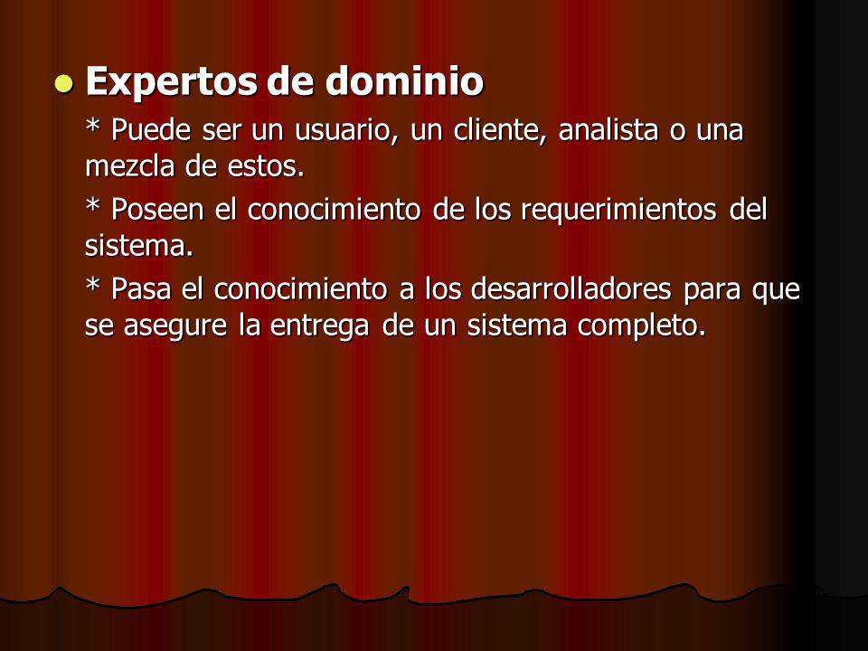 Expertos de dominio Expertos de dominio * Puede ser un usuario, un cliente, analista o una mezcla de estos.