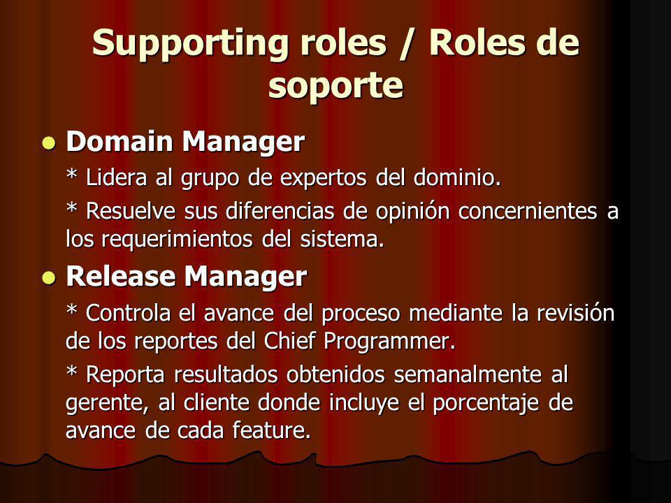 Supporting roles / Roles de soporte Domain Manager Domain Manager * Lidera al grupo de expertos del dominio.
