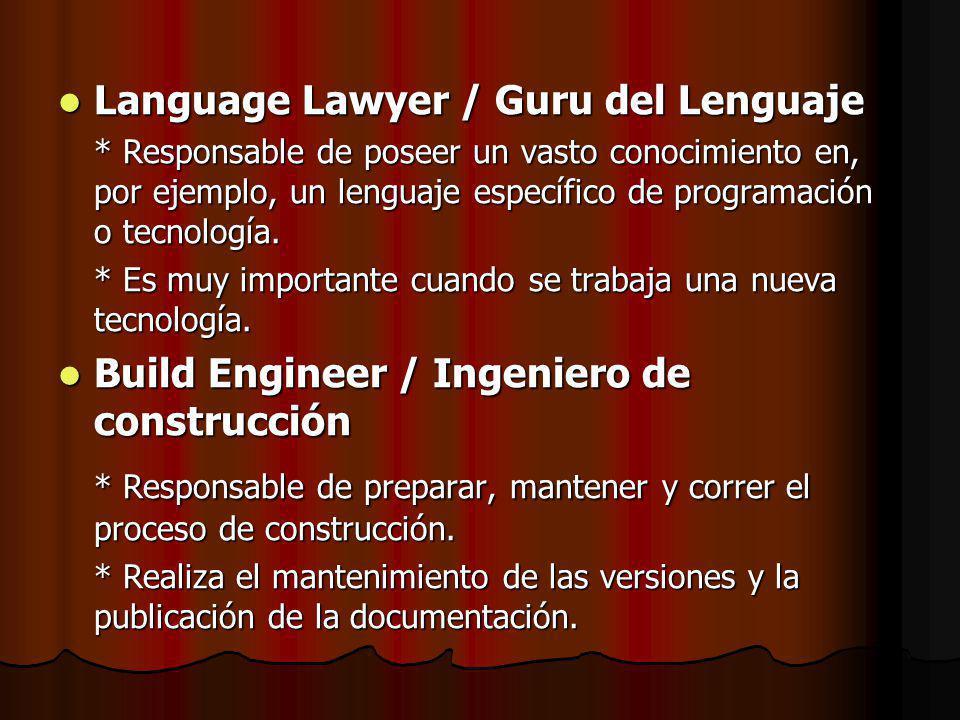 Language Lawyer / Guru del Lenguaje Language Lawyer / Guru del Lenguaje * Responsable de poseer un vasto conocimiento en, por ejemplo, un lenguaje específico de programación o tecnología.