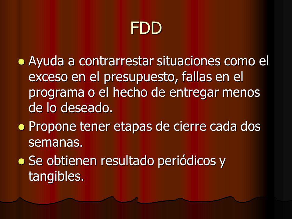 FDD Ayuda a contrarrestar situaciones como el exceso en el presupuesto, fallas en el programa o el hecho de entregar menos de lo deseado.