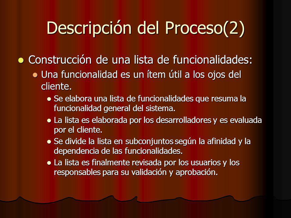 Descripción del Proceso(2) Construcción de una lista de funcionalidades: Construcción de una lista de funcionalidades: Una funcionalidad es un ítem útil a los ojos del cliente.
