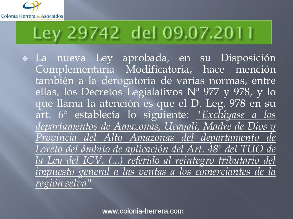 La nueva Ley aprobada, en su Disposición Complementaria Modificatoria, hace mención también a la derogatoria de varias normas, entre ellas, los Decretos Legislativos Nº 977 y 978, y lo que llama la atención es que el D.
