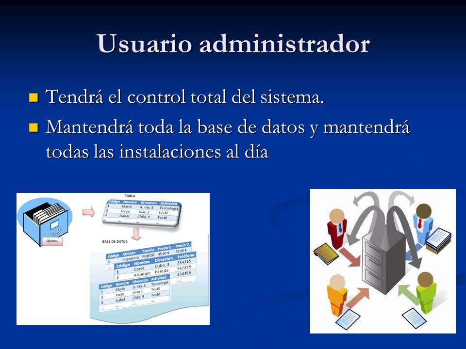 Usuario administrador Tendrá el control total del sistema.