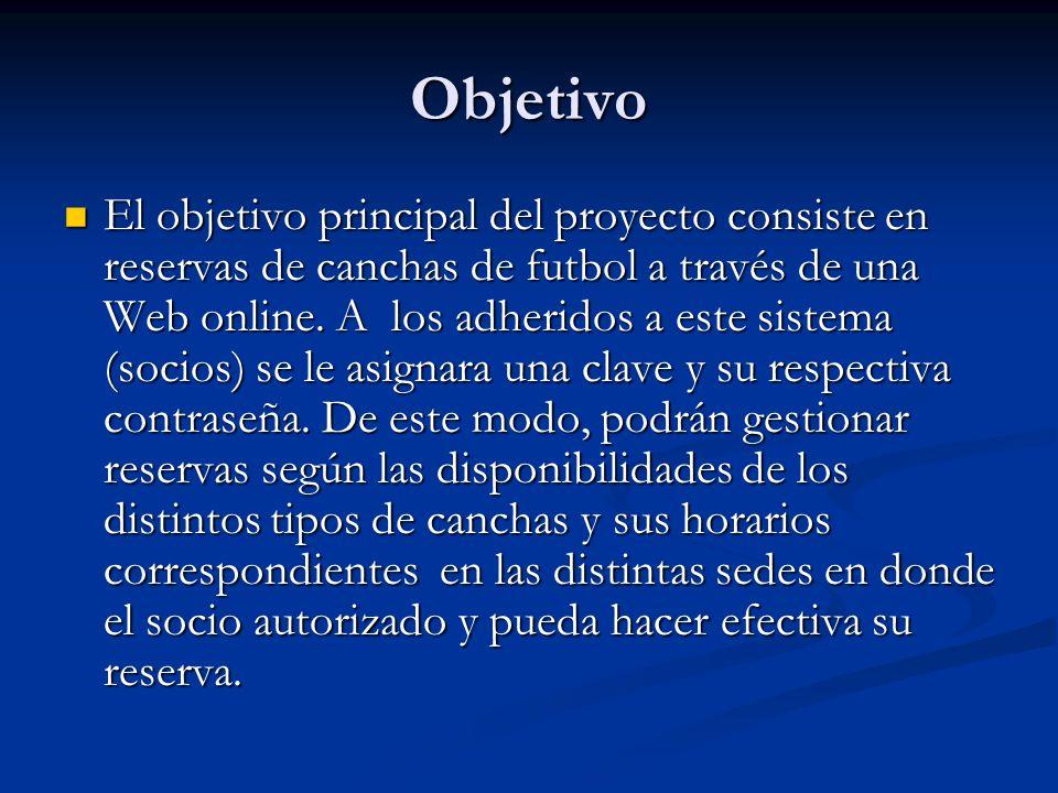 Objetivo El objetivo principal del proyecto consiste en reservas de canchas de futbol a través de una Web online.