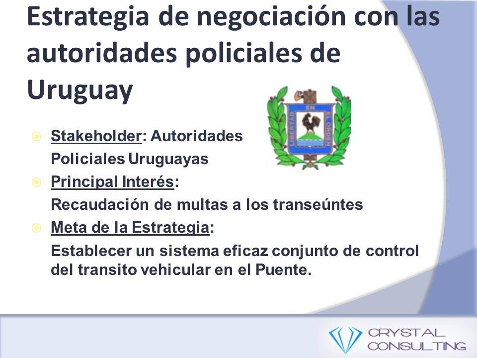 Estrategia de negociación con las autoridades policiales de Uruguay Stakeholder: Autoridades Policiales Uruguayas Principal Interés: Recaudación de mu
