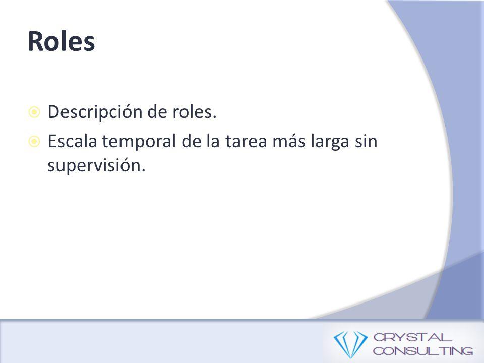 Descripción de roles. Escala temporal de la tarea más larga sin supervisión. Roles