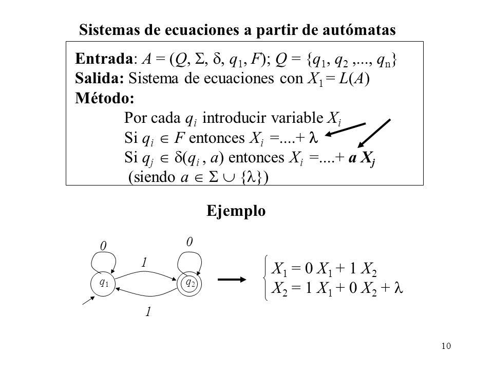 10 Entrada: A = (Q,,, q 1, F); Q = {q 1, q 2,..., q n } Salida: Sistema de ecuaciones con X 1 = L(A) Método: Por cada q i introducir variable X i Si q i F entonces X i =....+ Si q j (q i, a) entonces X i =....+ a X j (siendo a { }) Sistemas de ecuaciones a partir de autómatas 0 1 1 0 q2q2 q1q1 Ejemplo X 1 = 0 X 1 + 1 X 2 X 2 = 1 X 1 + 0 X 2 +