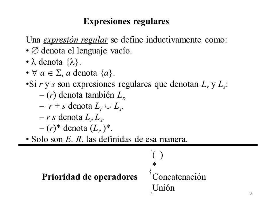 2 Expresiones regulares Una expresión regular se define inductivamente como: denota el lenguaje vacío. denota { }. a, a denota {a}. Si r y s son expre
