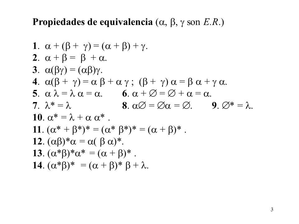3 Propiedades de equivalencia (,, son E.R.) 1. + ( + ) = ( + ) +. 2. + = +. 3. ( ) = ( ). 4. ( + ) = + ; ( + ) = +. 5. = =. 6. + = + =. 7. * = 8. = =.