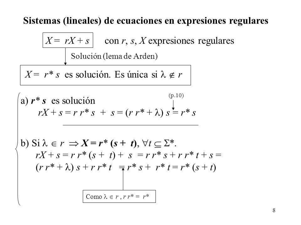 8 Sistemas (lineales) de ecuaciones en expresiones regulares X = rX + s con r, s, X expresiones regulares Solución (lema de Arden) X = r* s es solució