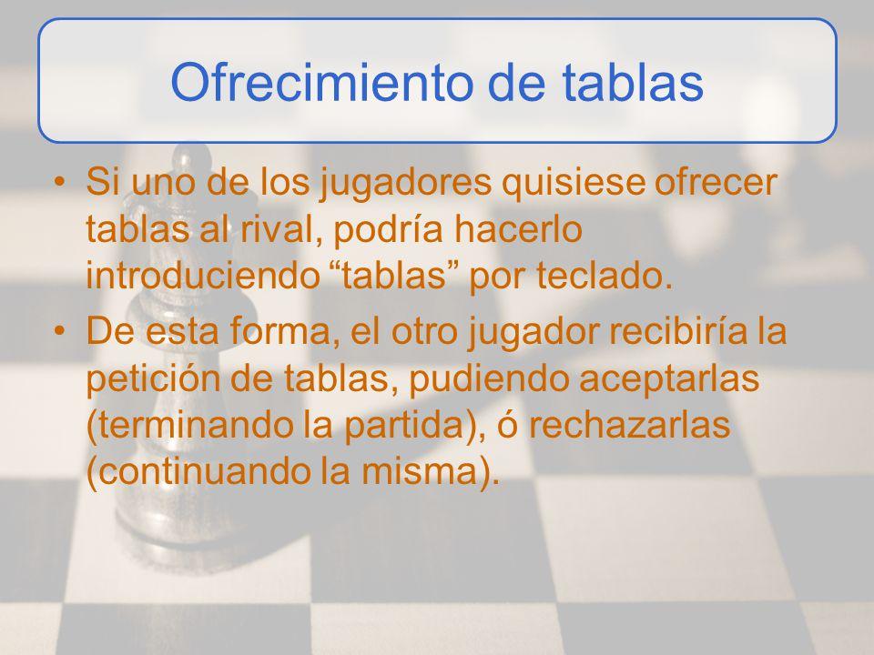 Ofrecimiento de tablas Si uno de los jugadores quisiese ofrecer tablas al rival, podría hacerlo introduciendo tablas por teclado. De esta forma, el ot