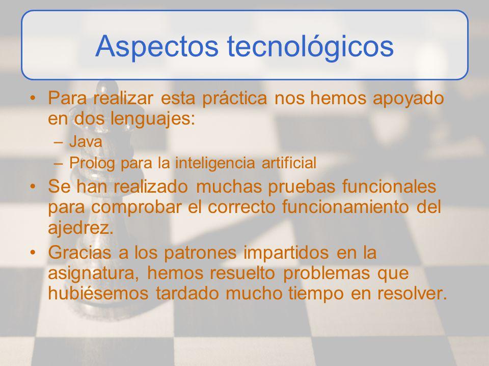 Aspectos tecnológicos Para realizar esta práctica nos hemos apoyado en dos lenguajes: –Java –Prolog para la inteligencia artificial Se han realizado m