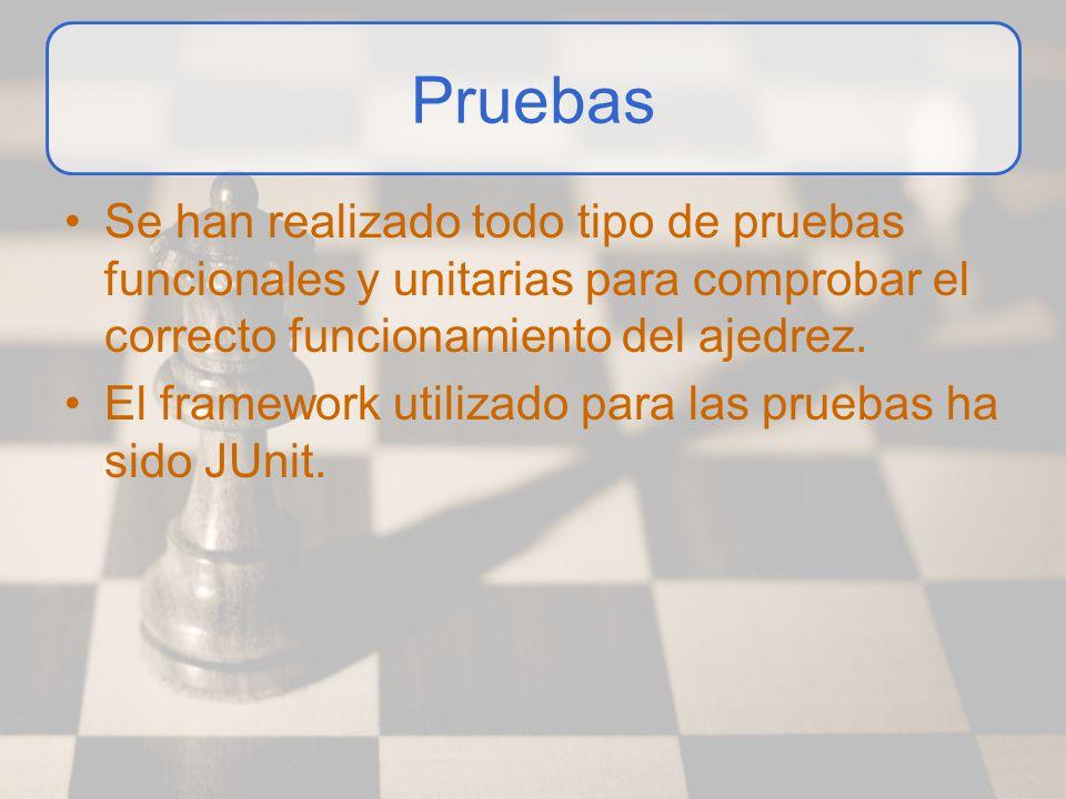 Pruebas Se han realizado todo tipo de pruebas funcionales y unitarias para comprobar el correcto funcionamiento del ajedrez. El framework utilizado pa