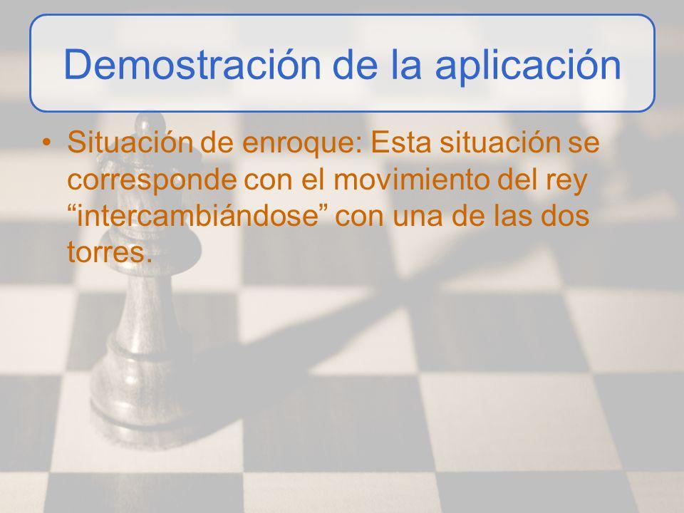Demostración de la aplicación Situación de enroque: Esta situación se corresponde con el movimiento del rey intercambiándose con una de las dos torres