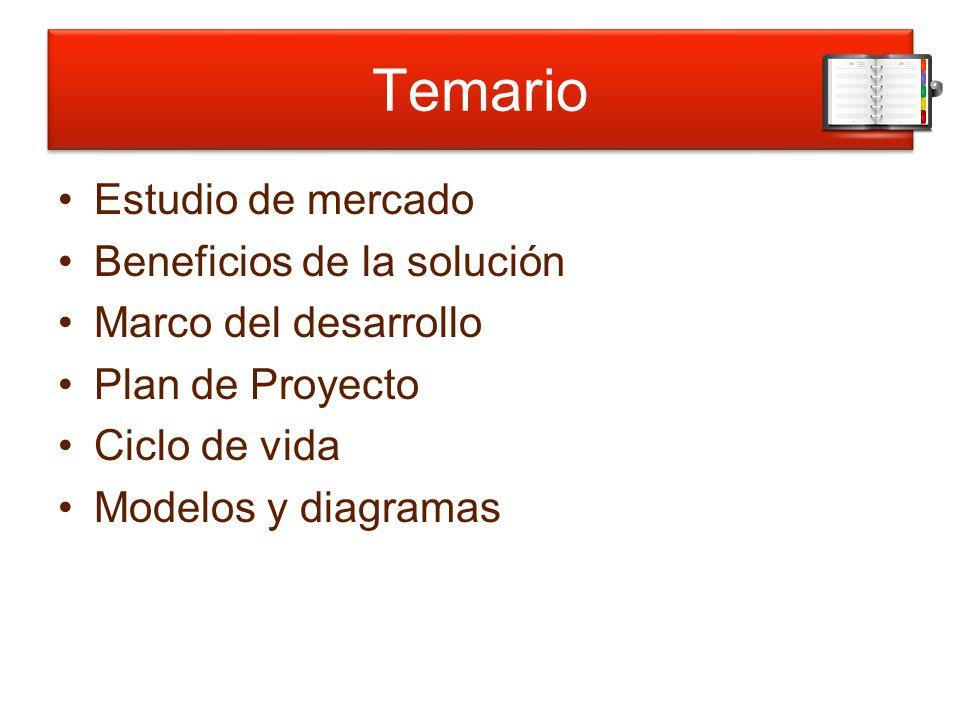 Temario Estudio de mercado Beneficios de la solución Marco del desarrollo Plan de Proyecto Ciclo de vida Modelos y diagramas