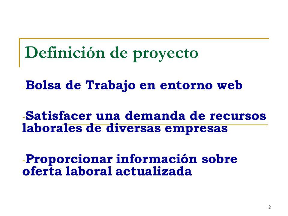 2 Definición de proyecto - Bolsa de Trabajo en entorno web - Satisfacer una demanda de recursos laborales de diversas empresas - Proporcionar informac