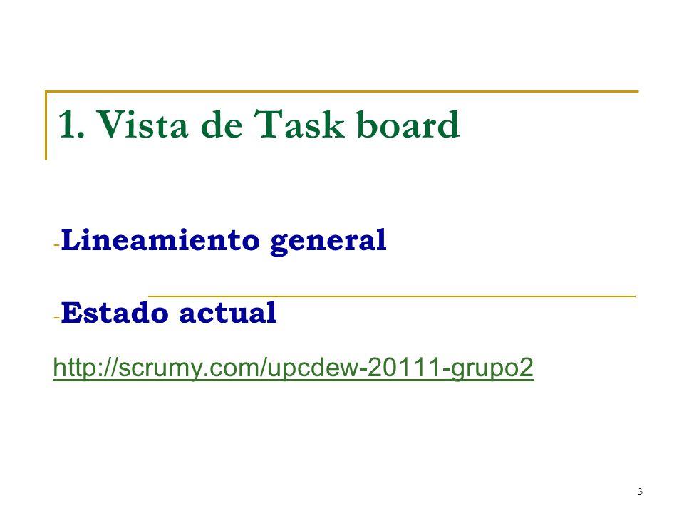 3 1. Vista de Task board - Lineamiento general - Estado actual http://scrumy.com/upcdew-20111-grupo2