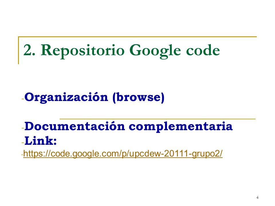 4 2. Repositorio Google code - Organización (browse) - Documentación complementaria - Link: - https://code.google.com/p/upcdew-20111-grupo2/ https://c