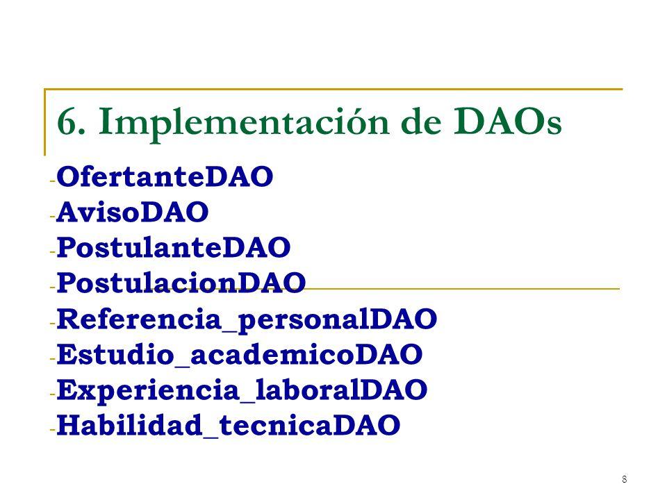 8 6. Implementación de DAOs - OfertanteDAO - AvisoDAO - PostulanteDAO - PostulacionDAO - Referencia_personalDAO - Estudio_academicoDAO - Experiencia_l
