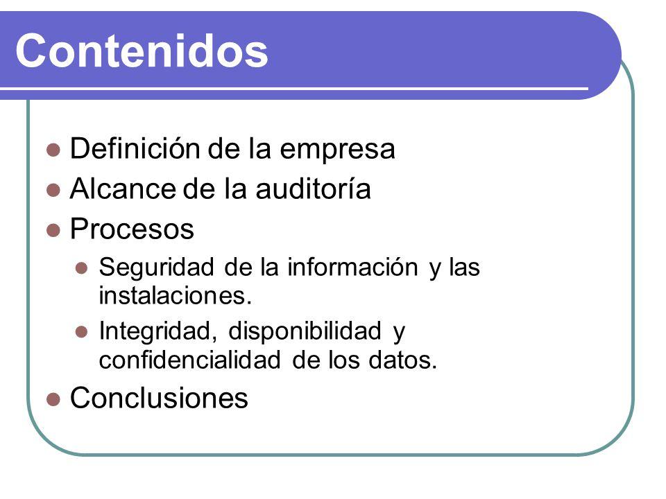 Alcance de la auditoría Deficiencia en la seguridad de la información y en las instalaciones AI3 (Problemas con las instalaciones hardware) PO2, DS5, DS11, DS12 (Problemas con la seguridad en la red y seguridad física) Evaluación de riesgos, plan de contingencia y plan de continuidad PO9 y DS4