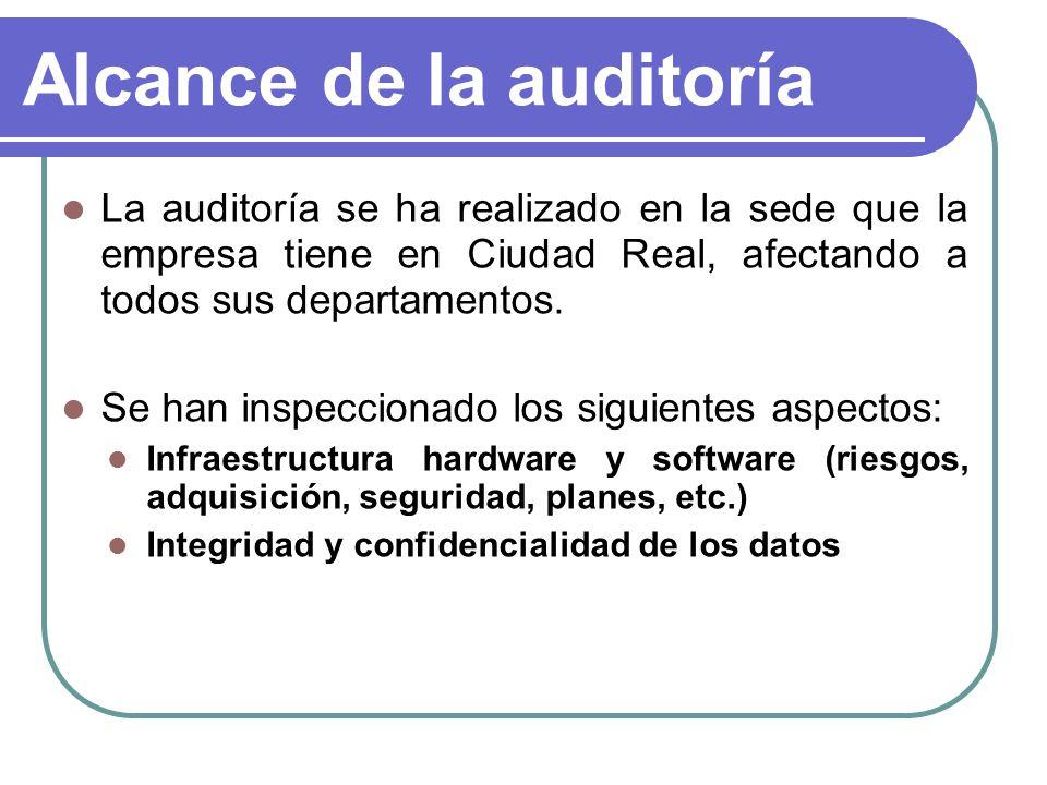 Alcance de la auditoría Para ello, se han seleccionado los siguientes puntos del COBIT: PO1: Definir un plan estratégico de TI PO2: Definir la arquitectura de la información PO9: Evaluar y administrar los riesgos de TI AI3: Adquirir y mantener infraestructura tecnológica AI5: Adquirir recursos de TI AI6: Administrar cambios DS3: Administrar el desempeño y la capacidad DS4: Garantizar la continuidad del servicio DS5: Garantizar la seguridad de los sistemas