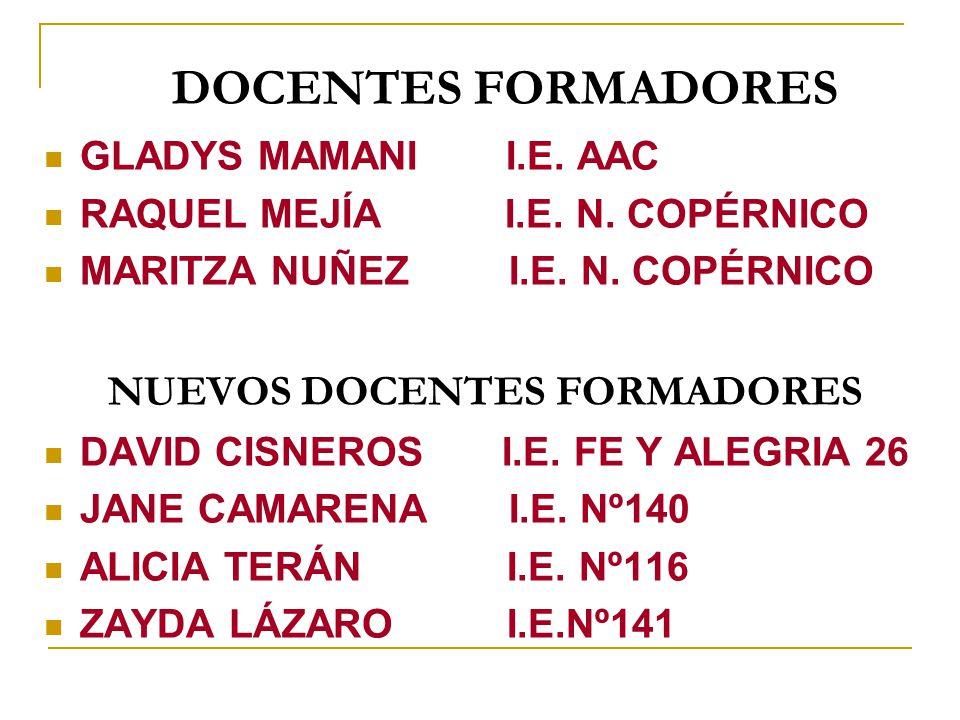 DOCENTES FORMADORES GLADYS MAMANI I.E. AAC RAQUEL MEJÍA I.E. N. COPÉRNICO MARITZA NUÑEZ I.E. N. COPÉRNICO NUEVOS DOCENTES FORMADORES DAVID CISNEROS I.