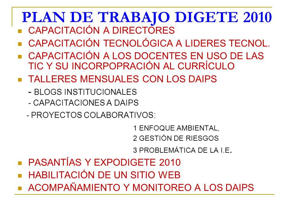 PLAN DE TRABAJO DIGETE 2010 CAPACITACIÓN A DIRECTORES CAPACITACIÓN TECNOLÓGICA A LIDERES TECNOL. CAPACITACIÓN A LOS DOCENTES EN USO DE LAS TIC Y SU IN