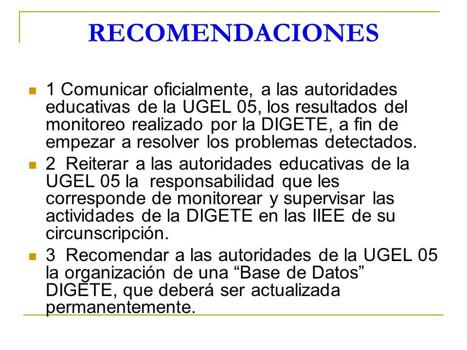 RECOMENDACIONES 1 Comunicar oficialmente, a las autoridades educativas de la UGEL 05, los resultados del monitoreo realizado por la DIGETE, a fin de e