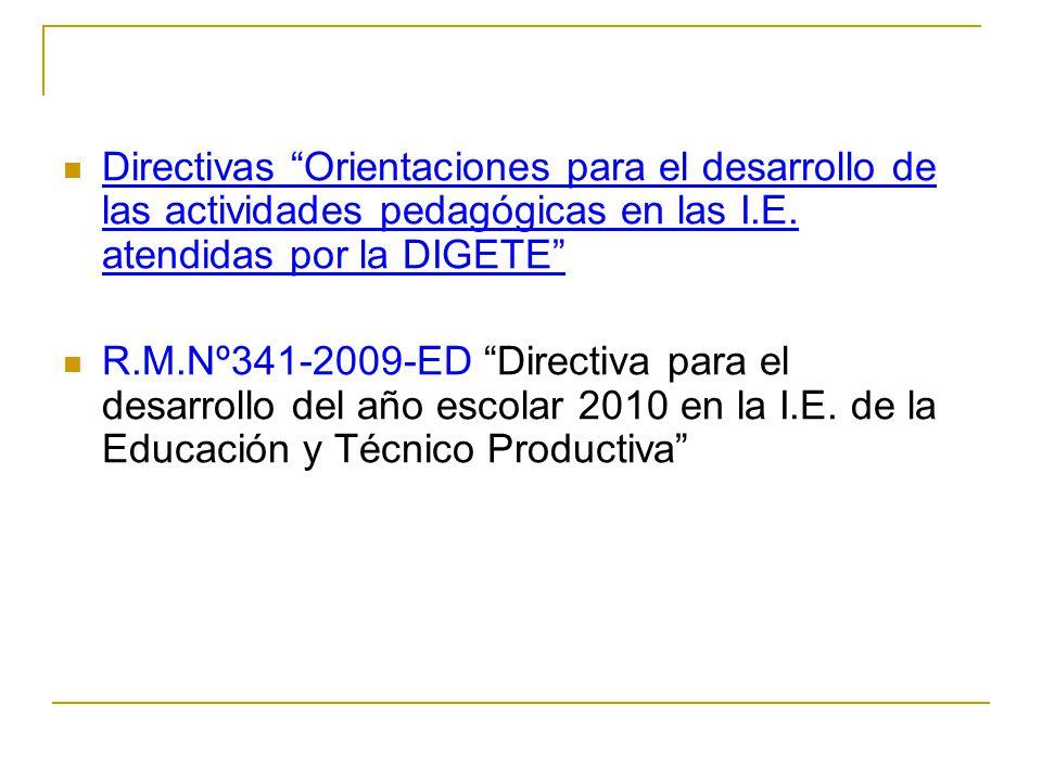 Directivas Orientaciones para el desarrollo de las actividades pedagógicas en las I.E. atendidas por la DIGETE R.M.Nº341-2009-ED Directiva para el des