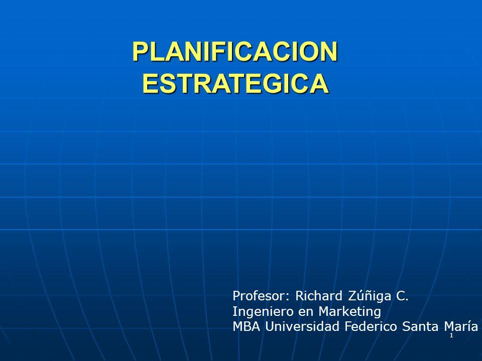 1 PLANIFICACION ESTRATEGICA Profesor: Richard Zúñiga C. Ingeniero en Marketing MBA Universidad Federico Santa María