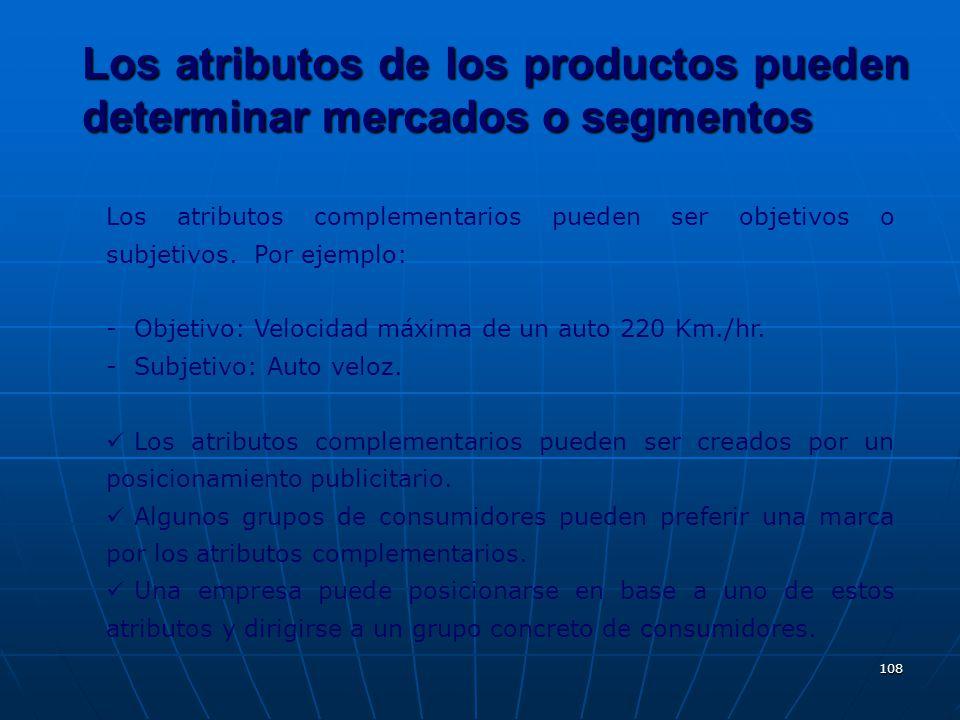 108 Los atributos complementarios pueden ser objetivos o subjetivos. Por ejemplo: - Objetivo: Velocidad máxima de un auto 220 Km./hr. - Subjetivo: Aut
