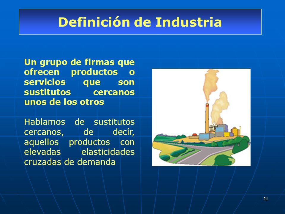 21 Definición de Industria Un grupo de firmas que ofrecen productos o servicios que son sustitutos cercanos unos de los otros Hablamos de sustitutos c