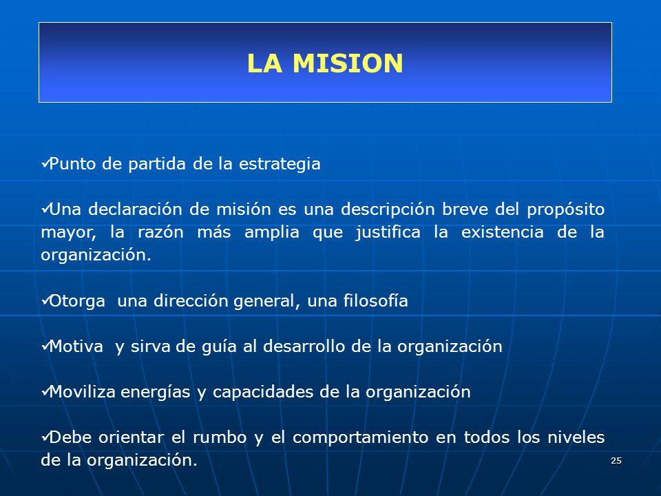 25 LA MISION Punto de partida de la estrategia Una declaración de misión es una descripción breve del propósito mayor, la razón más amplia que justifi