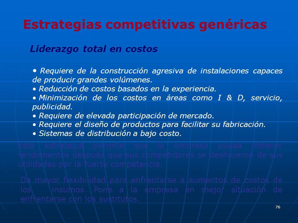 76 Estrategias competitivas genéricas Liderazgo total en costos Requiere de la construcción agresiva de instalaciones capaces de producir grandes volú