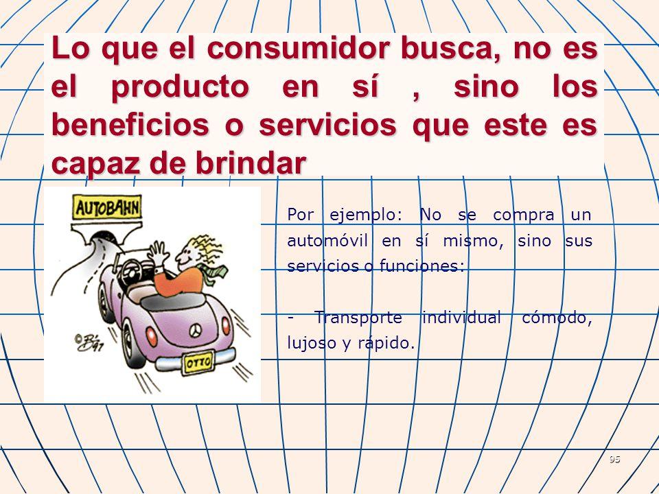 95 Lo que el consumidor busca, no es el producto en sí, sino los beneficios o servicios que este es capaz de brindar Por ejemplo: No se compra un auto
