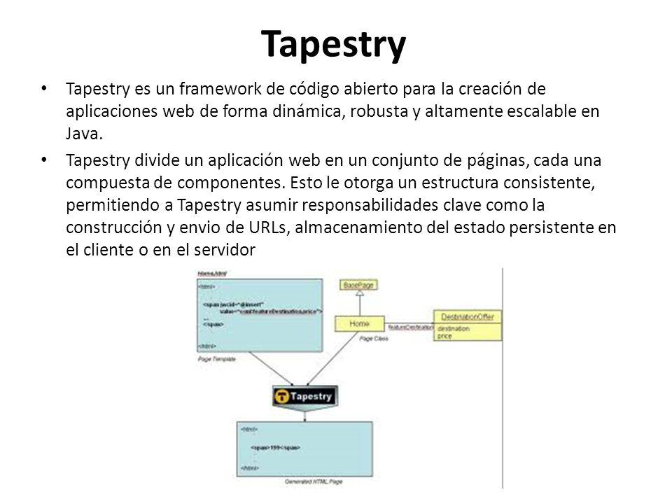 Proceso Tapestry implica crear plantillas HTML usando HTML plano, y combinando las plantillas con pequeños trozos de código Java En Tapestry, las aplicaciones se crean en terminos de objetos, y los métodos y propiedades de estos objetos, y no especificando terminos de URLs y términos de consulta.
