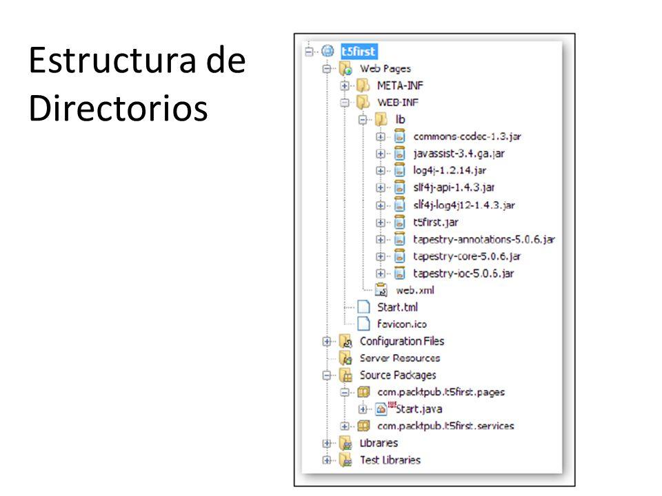 Creando Una Aplicación Tapestry Crea una aplicación tapestry con maven mvn archetype:generate -DarchetypeGroupId=org.apache.tapestry -DarchetypeArtifactId=quickstart - DgroupId=com.packtpub -DartifactId=t5first -DpackageName=com.packtpub.t5first -Dversion=1.0.0-SNAPSHOT Generar el packete mvn package Importe desde eclipse el packete generado.