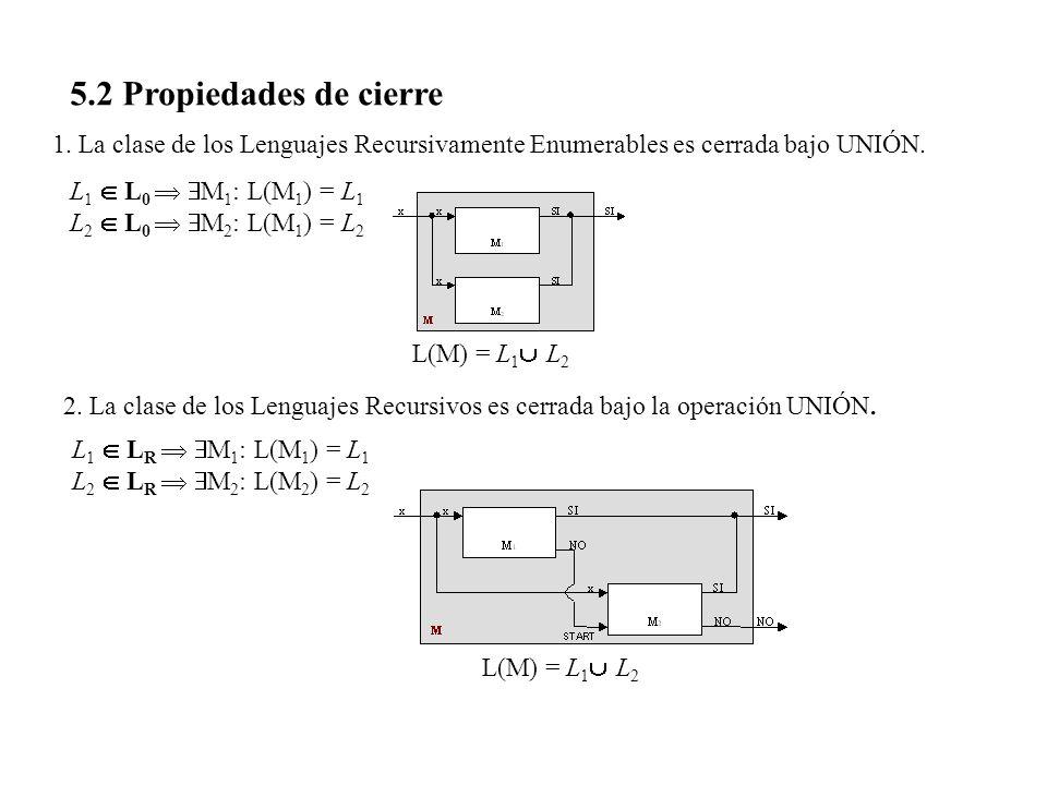 5.2 Propiedades de cierre 1. La clase de los Lenguajes Recursivamente Enumerables es cerrada bajo UNIÓN. 2. La clase de los Lenguajes Recursivos es ce