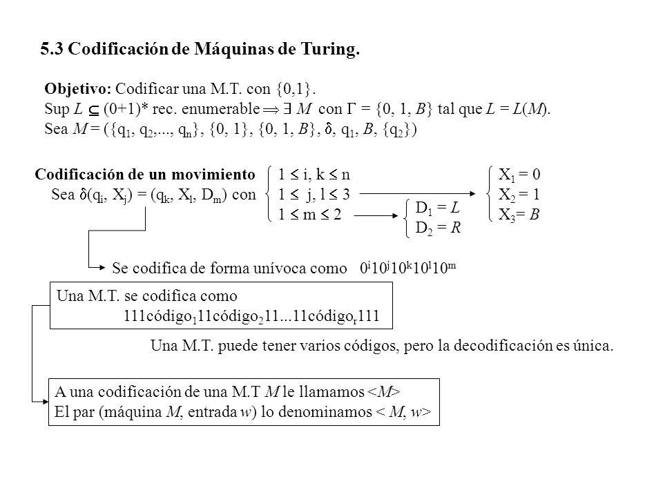 5.3 Codificación de Máquinas de Turing. Objetivo: Codificar una M.T. con {0,1}. Sup L (0+1)* rec. enumerable M con = {0, 1, B} tal que L = L(M). Sea M