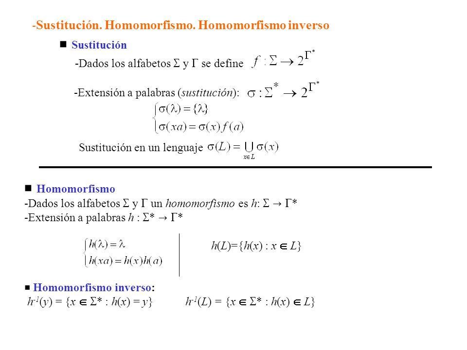 Sustitución -Dados los alfabetos y se define -Extensión a palabras (sustitución): Sustitución en un lenguaje Homomorfismo -Dados los alfabetos y un homomorfismo es h: * -Extensión a palabras h : * * h(L)={h(x) : x L} Homomorfismo inverso: h -1 (y) = {x * : h(x) = y} h -1 (L) = {x * : h(x) L} - Sustitución.