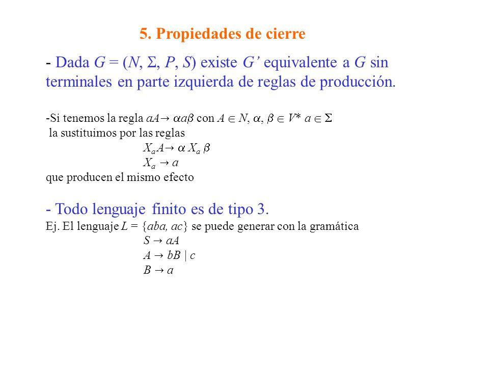 5. Propiedades de cierre - Dada G = (N,, P, S) existe G equivalente a G sin terminales en parte izquierda de reglas de producción. -Si tenemos la regl