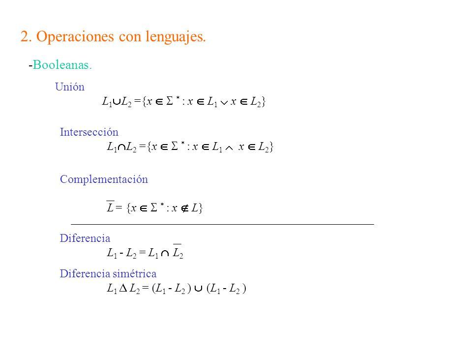 2.Operaciones con lenguajes. -Booleanas.