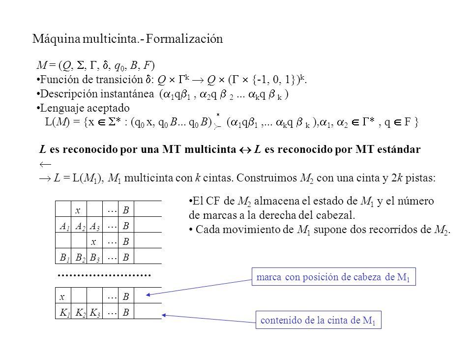 M = (Q,,,, q 0, B, F) Función de transición : Q k Q ( {-1, 0, 1}) k. Descripción instantánea ( 1 q 1, 2 q 2... k q k ) Lenguaje aceptado L(M) = {x * :