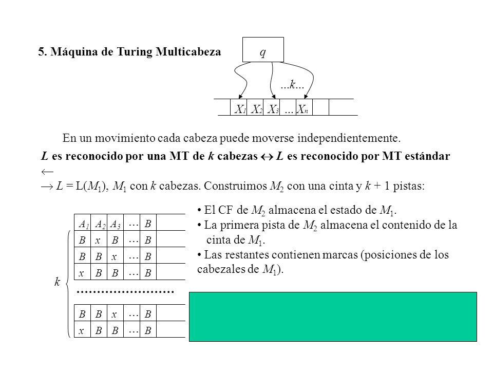 5. Máquina de Turing Multicabeza X1X1 q X2X2 XnXn...X3X3 En un movimiento cada cabeza puede moverse independientemente. L es reconocido por una MT de