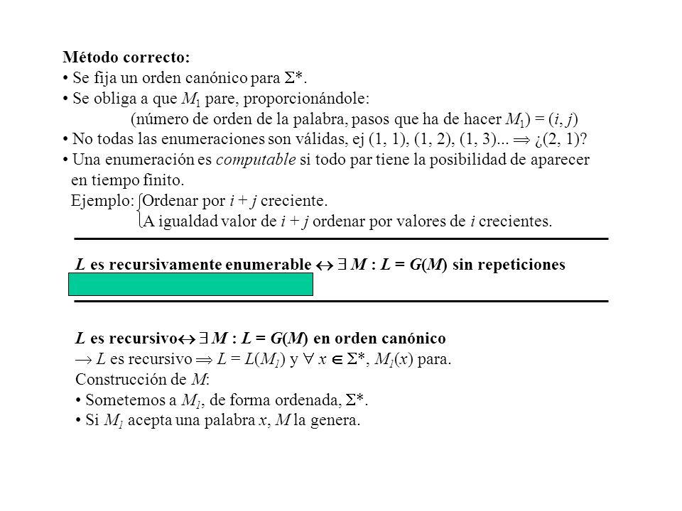 Método correcto: Se fija un orden canónico para *. Se obliga a que M 1 pare, proporcionándole: (número de orden de la palabra, pasos que ha de hacer M