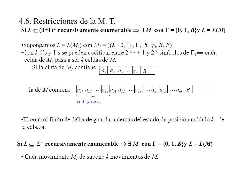 4.6. Restricciones de la M. T. Si L (0+1)* recursivamente enumerable M con = {0, 1, B}y L = L(M) Supongamos L = L(M 1 ) con M 1 = (Q, {0, 1}, 1,, q 0,