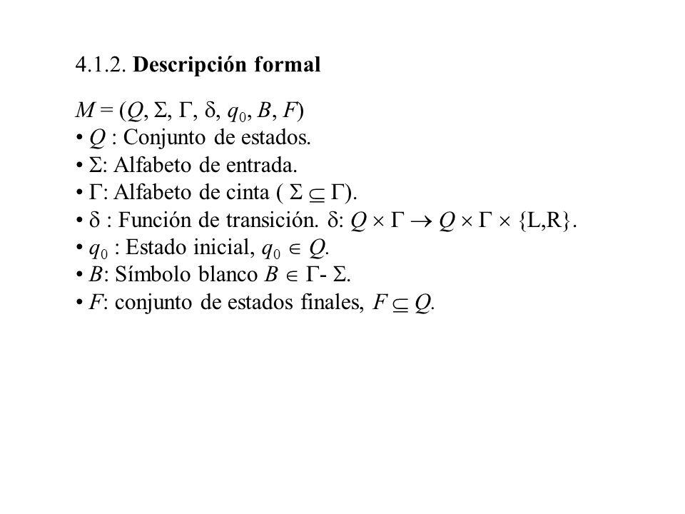 M = (Q,,,, q 0, B, F) Q : Conjunto de estados. : Alfabeto de entrada. : Alfabeto de cinta ( ). : Función de transición. : Q Q {L,R}. q 0 : Estado inic